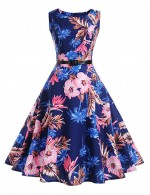 Dreamy Zip Back Swing Hem Floral Print Skater Dress Ladies Fashion