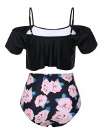 Enthusiastic Black Open Shoulder Ruffle 2 Pcs Swimsuit Floral Online Fashion