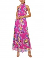 Rose Red Bohemia Knot Waist Sleeveless Maxi Dress For Classic Women