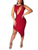 Comfy High-Low Hem Wine Red Cut Out Bodycon Dress Crew Neck