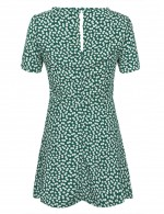 Green Short Sleeve Floral Knot Mini Dress Zipper Fashion Shopping