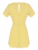 Yellow Zip Back Bow Tie Floral Hollow Mini Dress For Holiday