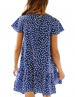 Striking Short Sleeve Blue V Neck Flounce Mini Dress Dot Comfort Devotion