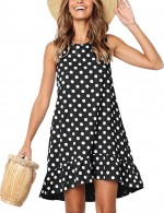 Irresistible Black Sleeveless Crew Neck Dot Mini Dress Pocket