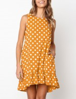 Brown Ruffle Hem Sleeveless Polka Dot Mini Dress Understated Design