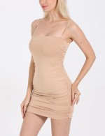 Khaki Mini Slender Strap Bodycon Dress Ruched Heartbreaker