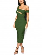 Dreamy Army Cut Out Green Sleeveless Bodycon Dress Midi Length