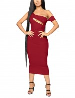 Fresh Wine Red One Shuolder Plain Bodycon Dress Cut Out For Ladies