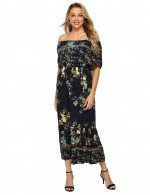 Striking Bohemia Off Shoulder Floral Midi Dress Big Size For Shopping