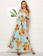 Light Blue Sunflower V Neck Slng Big Size Cape Maxi Dress Women