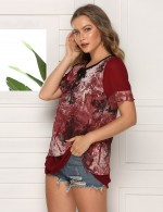 Snug Fit Large Size Wine Red Frill Chiffon T-Shirt Crew Neck
