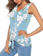 Best Button Floral Print Sleeveless Tank Top For Upscale