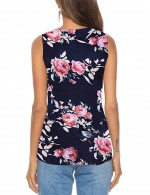 Picturesque Tie Front V Collar Flower Tank Top Button Fashion