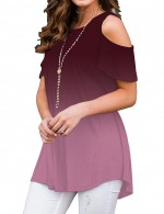 Ravishing Gradient Cold Shoulder Crew Neck Blouse Latest Trends