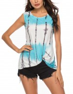 Likable Sky Blue Round Neck Gradient Tank Top Sleeveless Fashion Design