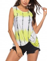 Young Girl Yellow Tangle Up Gradient Tank Top Round Neck Elastic Material