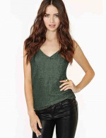Enthralling Green Backless Sequin Sling Vest Top V Collar For Playing