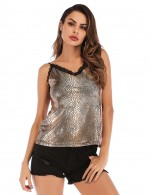 Sultry Golden Snake Print Backless V Neck Vest Top Lace Women's Fashion