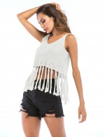 Ultra Contemporary  White Tassel Hollow Backless Cropped Top V Collar