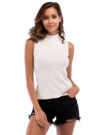 Snug Fit White Knit High Collar Chevron Tank Top Ribbed Forward Women