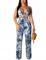 Premium Blue Backless Empire Waist Hollow Jumpsuit Twist