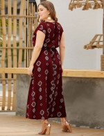 Beautifully Designed Dark Red Cap Sleeve Print Knot Big Size Maxi Dress