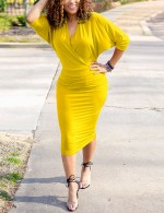Yellow Wrap Bat Sleeve V Neck Bodycon Dress Plain Superior Comfort