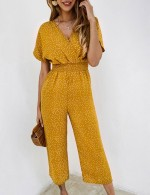 Structured V Neck Yellow Dot Short Sleeve Jumpsuits Pocket Natural Women
