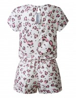 Intriguing Hollow Leopard Apricot Pocket Button Rompers Knot