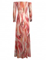 Form-Fitting Off Shoulder Light Pink Slit Cut Out Maxi Dress Print