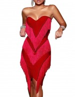 Contouring Sensation Red Sweetheart Neck Open Back Bodycon Dress Tassel