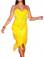 Edgy Bandeau Tassel Yellow Zipper Back Bodycon Dress Female Elegance