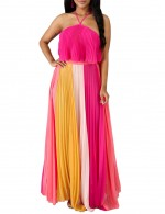 Eye Catcher Pink Contrast Color Zip Pleated Open Back Maxi Dress