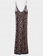 Shimmer V Neck Leopard Lace Sling Sleepwear Wide Leg Fashion