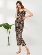 Exquisitely Open Back Brown Sling Leopard Sleepwear Set Lace Super Soft