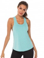 Sky Blue U Neck Wide Strap I-Shaped Tank Top Sport Athletic Apparel