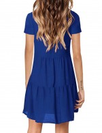 Sapphire Blue Plain Short Sleeve Plain Mini Dress Online Sale