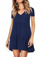 Fabulous Fit Empire Waist Navy Blue Flare Hem V Neck Mini Dress Romance