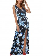 Bewitching Blue Waist Tie Slit V Neck Maxi Dress Print Workout