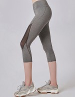 Exclusive Light Grey Mesh Patchwork Elastic Sport Pants Midi Length