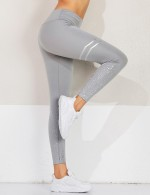 Gym Hot Stamping Grey Print High Waist Sport Pants Breathable