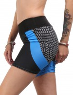 Vivid Flawless Blue Contrast Color High Rise Sport Bottoms Short Elastic