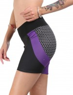 Refreshing Purple Matching Color High Rise Sport Bottoms Short Fitness