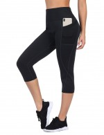 Athletic Neoprene Black Big Size Pocket Side Sport 3/4 Pants