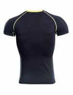 Appealing Round Collar Stripe Male Sport Top Big Size Tight