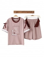 Fashion Ruched Tie Print Crew Neck Sleepwear Set For Beauty Females