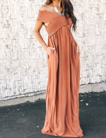 Excellent Orange Pocket Off Shoulder Cross Maxi Dress Smocking Superior