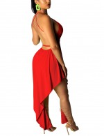 Pleated Red Cross Waist Tie Midi Dress V Neck Feminine Confidence