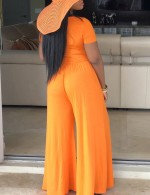Pleasurable Orange Ruched Crew Neck Solid Color Jumpsuit For Ladies