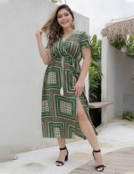 Stunning Waist Tie Green Slit Print Midi Dress Big Size Leisure